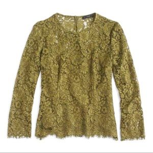J. Crew Forest Green Lace Blouse NWT